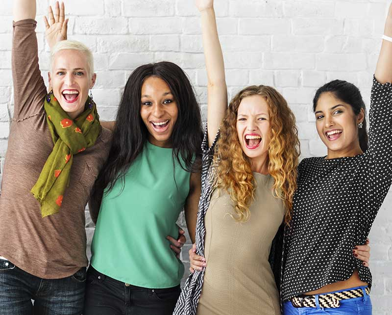 group of happy female business owners